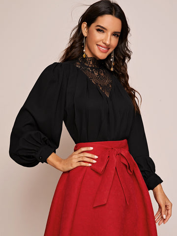 Lace Insert Lantern Sleeve Top