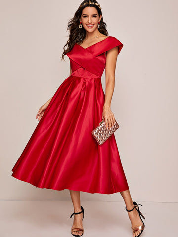 Cross Wrap Satin Fit & Flare Dress