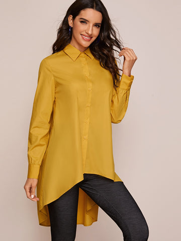 High Low Tiered Back Blouse