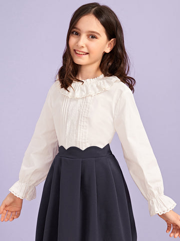 Girls Ruffle Trim Eyelet Embroidery Detail Top