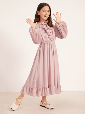 Girls Pleated Lantern Sleeve Ruffle Trim A-line Dress