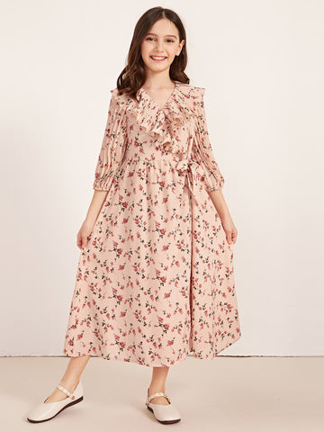 Girls V-neck Ruffle Detail Pleated Sleeve Ditsy Floral Dress