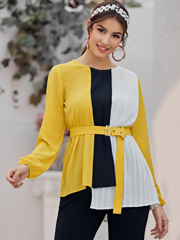 Asymmetrical Hem Pleated Detail Colorblock Belted Blouse