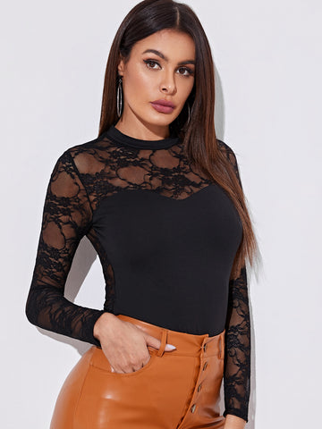 Sheer Lace Back Fitted Top