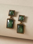 1pair Gemstone Geometric Vintage Drop Earrings