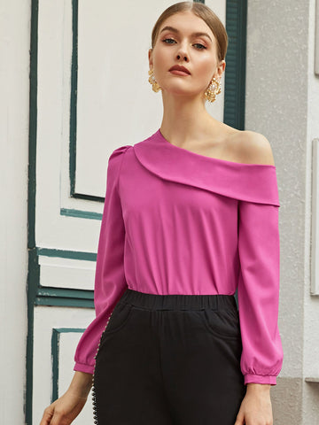 Foldover Asymmetrical Neck Solid Top