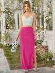 Neon Pink Ruched Detail Maxi Skirt