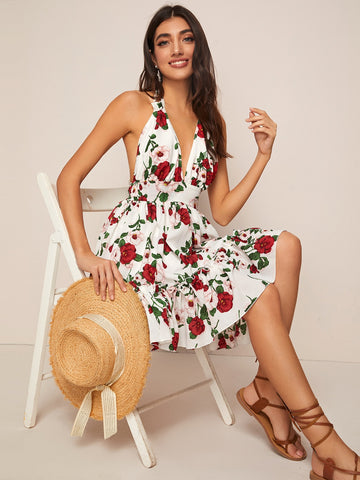 Floral Print Backless Knotted Halter Dress