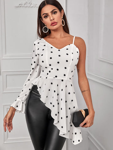 Asymmetrical Detail Polka Dot Blouse