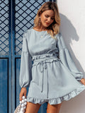 Lantern Sleeve Shirred Waist Belted Dress