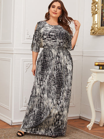 Plus Snakeskin Print Split Sleeve Shirred Maxi Dress
