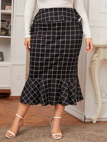 Plus Plaid Ruffle Trim Split Side Mermaid Skirt