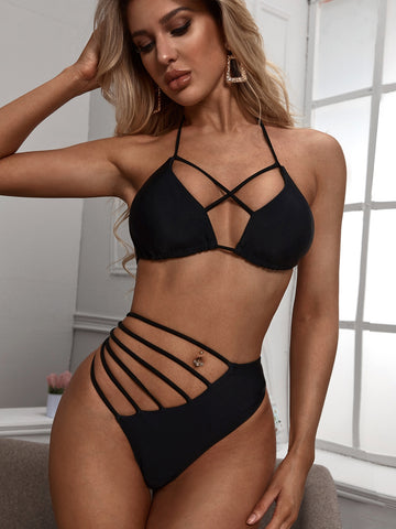Criss Cross Top With Ladder Cut-out High Waist Bikini
