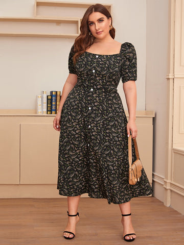 Plus Floral Print Button Front A-line Dress