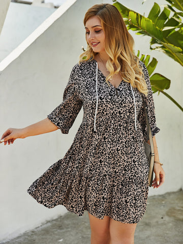 Plus Leopard Print Drawstring A-line Dress