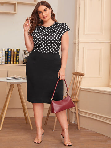 Plus Polka Dot Ruched Fitted Dress