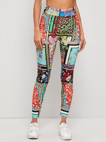 Patchwork Print Leggings
