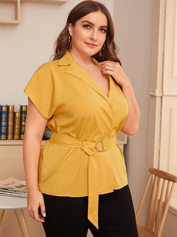 Plus Lapel Neck Belted Blouse