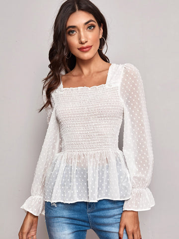 Swiss Dot Shirred Peplum Sheer Chiffon Blouse