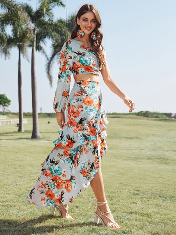 One Shoulder Floral Top & Asymmetric Ruffle Skirt Set