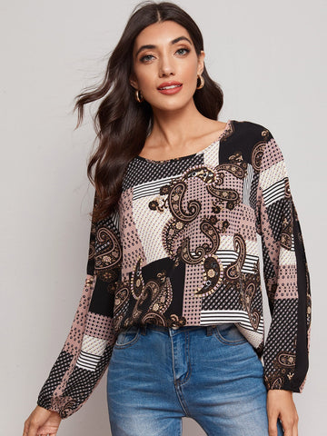 Tribal Print Curved Hem Blouse