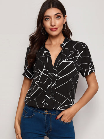 Geo Print Notched Neck Blouse