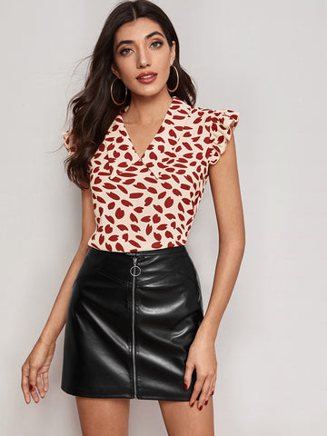 Allover Print Ruffle Cap Sleeve Blouse