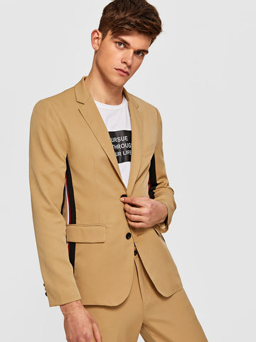 Men Notched Collar Contrast Striped Tape Side Blazer
