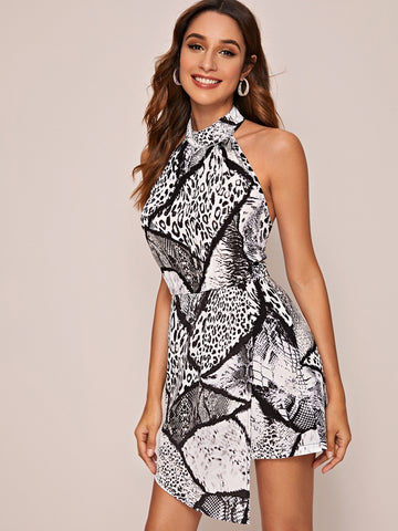 Snakeskin & Leopard Print Backless Romper