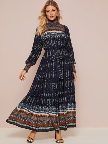 Tribal Print Shirred Panel Self Belted Maxi Dress