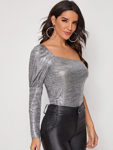 One Shoulder Gigot Sleeve Metallic Top