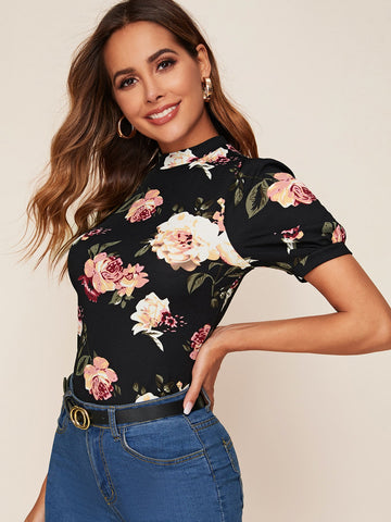 Mock Neck Puff Sleeve Floral Print Tee
