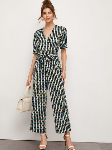 Self Tie Surplice Front Jumpsuit