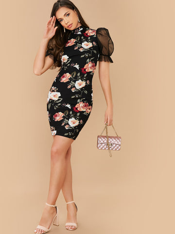 Mock-Neck Mesh Sleeve Floral Print Dress