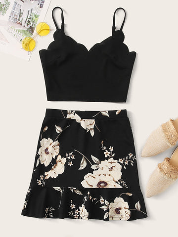 Scallop Trim Cami Top & Ruffle Hem Floral Skirt Set