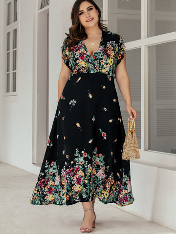 Plus Plunge Neck Floral Print A-line Dress