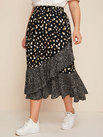 Plus Ruffle Hem All Over Print Skirt