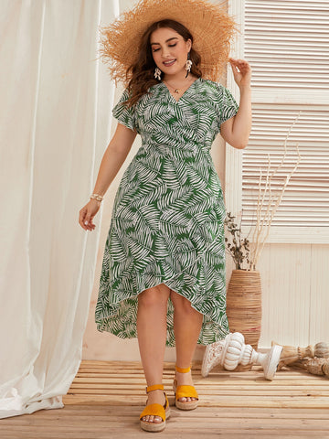 Plus Surplice Front Ruffle Hem Leaf Print Dress