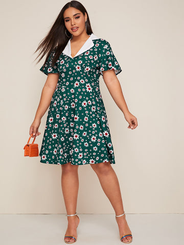 Plus Floral Print Lapel Collar A-line Dress