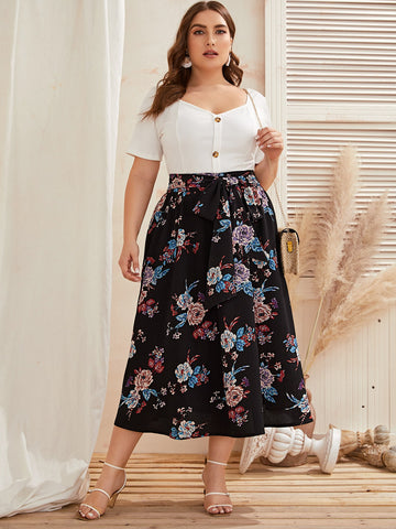 Plus Floral Print Belted Skirt