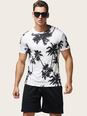 Men Palm Tree Print Tee