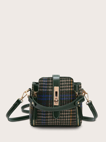 Side Zip Decor Houndstooth Satchel Bag