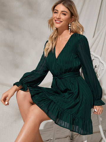 Surplice Neck Belted Ruffle Hem Striped Dress