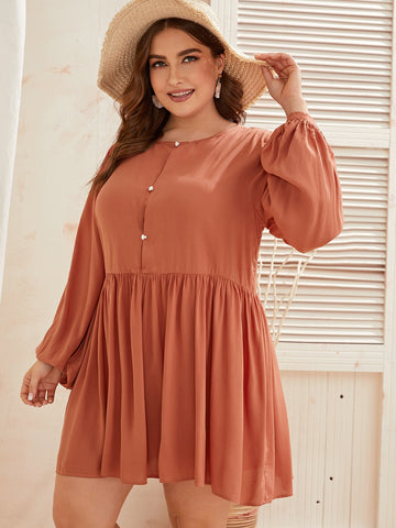 Plus Button Front Lantern Sleeve A-line Dress