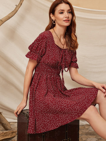 Polka Dot Tie Front Shirred A-line Dress