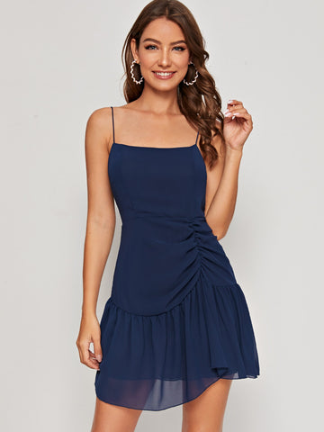 Ruched Ruffle Hem Chiffon Cami Dress