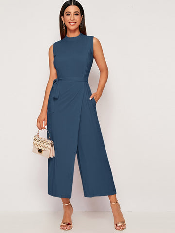 Mock Neck Self Tie Wrap Culotte Jumpsuit