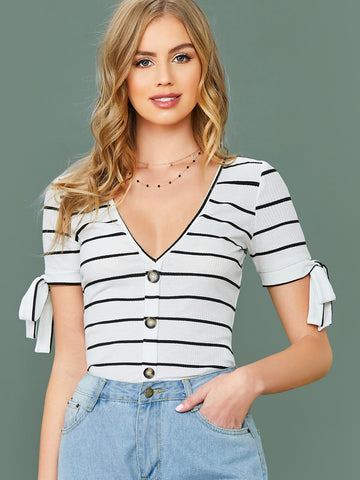 Buttoned Front Knot Cuff Striped Top