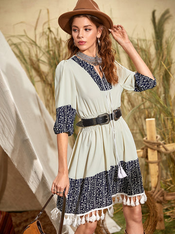Plants Panel Tassel Tie Neck Dress Without Belt