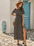 Ditsy Floral Print Split Thigh Dress